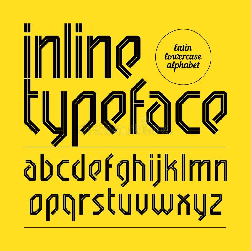 Caráter tipo inline moderno, alfabeto ilustração stock