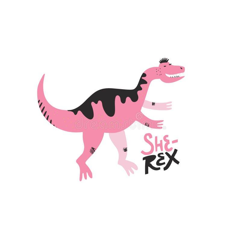 Caráter tirado do vetor da cor da menina de Dino mão lisa ilustração royalty free
