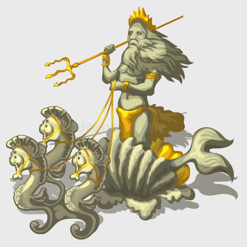 Caráter Triton com cavalo de mar, vetor à moda ilustração stock