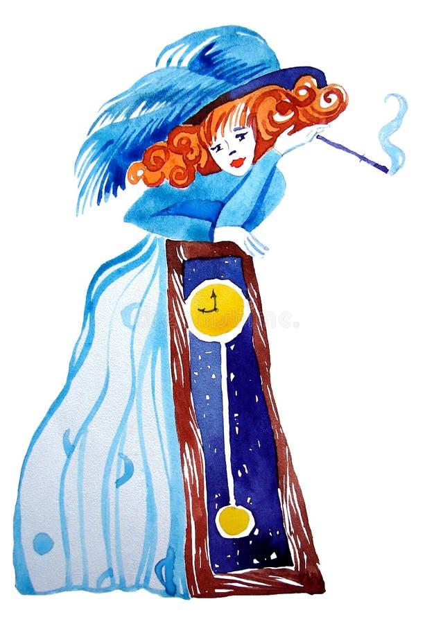 Caráter: uma menina em um vestido do vintage com um cigarro no adaptador bucal foto de stock