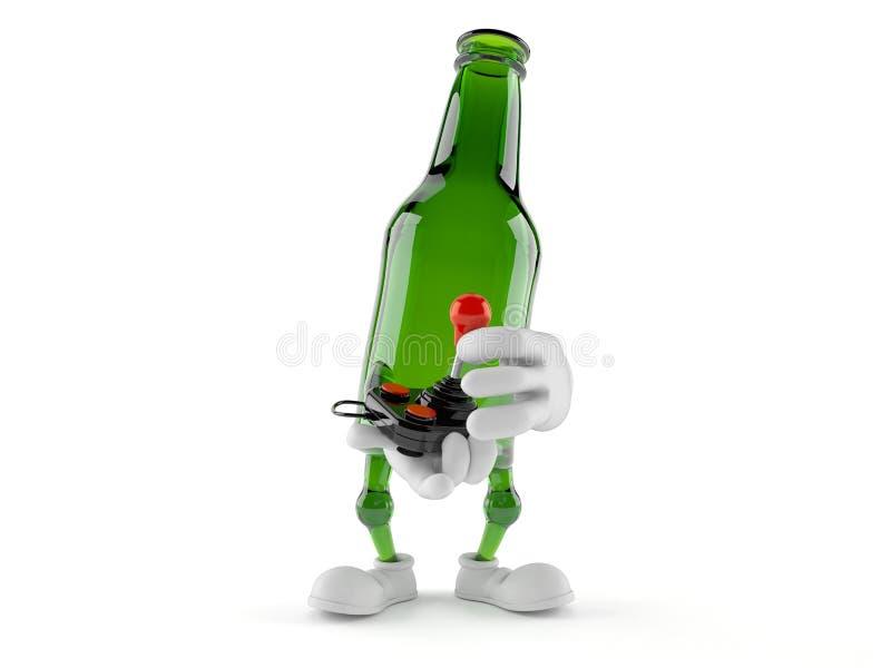 Caráter verde da garrafa de vidro que guarda o manche retro ilustração do vetor