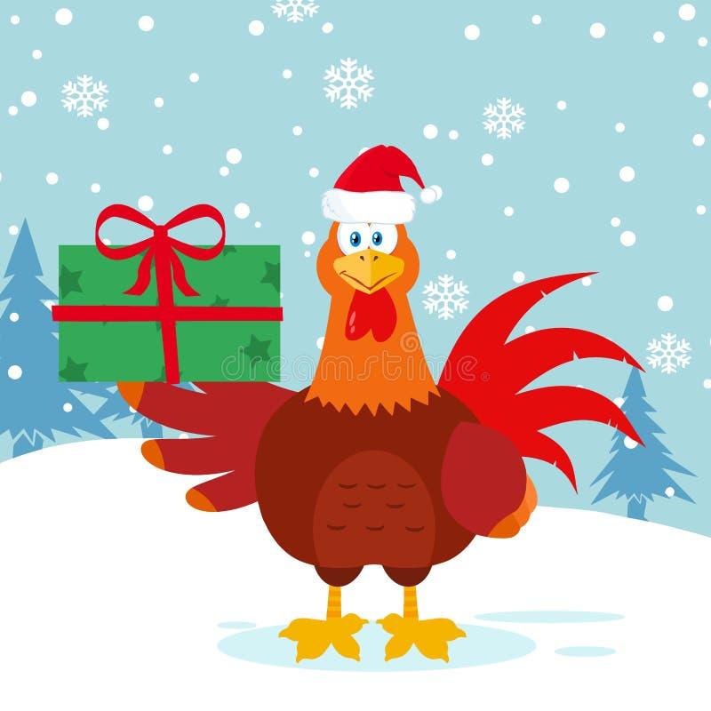 Caráter vermelho bonito da mascote dos desenhos animados do pássaro do galo com Santa Hat Holding Gifts ilustração stock