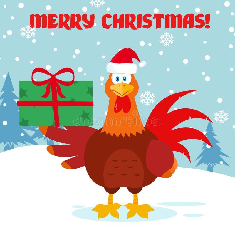 Caráter vermelho bonito da mascote dos desenhos animados do pássaro do galo com Santa Hat Holding Gifts ilustração do vetor