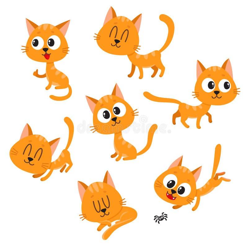 Caráter vermelho bonito e engraçado do gato que mostra emoções diferentes ilustração royalty free