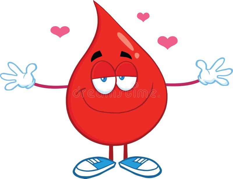 Caráter vermelho da gota do sangue com os braços abertos para abraçar ilustração stock