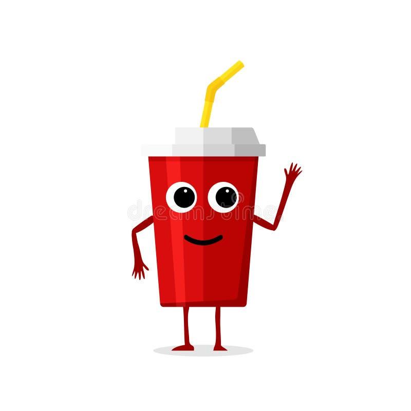 Caráter vermelho do copo de papel da bebida engraçada e bonito da soda isolado no fundo branco Cola com rosto humano de sorriso ilustração royalty free