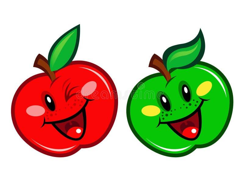 Caráter vermelho e verde de Apple ilustração do vetor