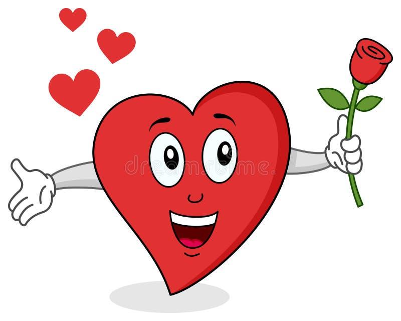 Caráter vermelho engraçado do coração ilustração stock