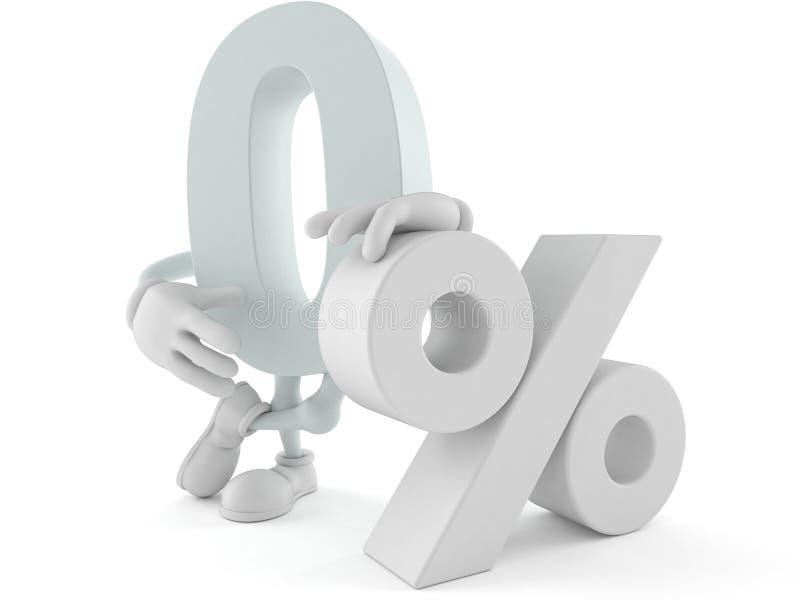 Caráter zero com símbolo dos por cento ilustração royalty free