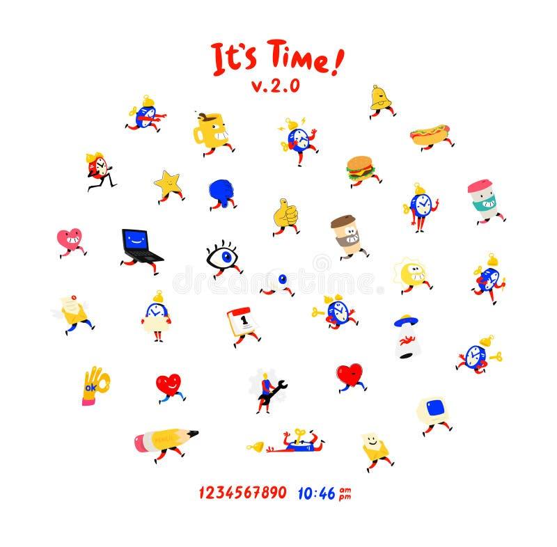 Caráteres amigáveis do divertimento Vetor Ícones para relógios, despertadores, canecas, olhos e corações para redes sociais Como  ilustração royalty free