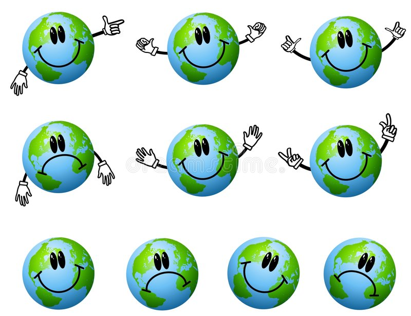 Caráteres Assorted da terra dos desenhos animados ilustração do vetor
