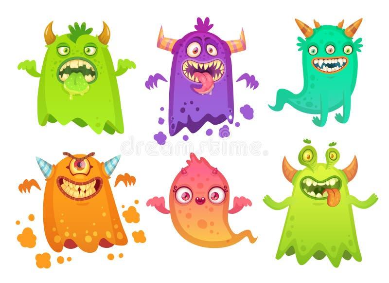 Caráteres assustadores irritados da mascote dos monstro do fantasma do monstro dos desenhos animados, criatura estrangeira pateta ilustração do vetor