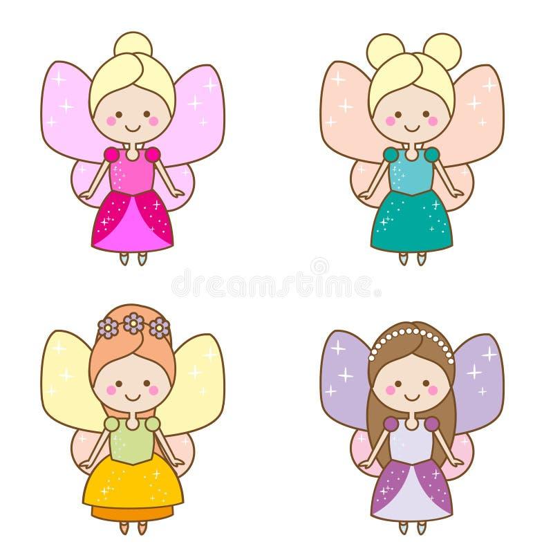 Caráteres bonitos das fadas do kawaii Princesa voada do duende em vestidos bonitos Estilo dos desenhos animados, etiquetas das cr ilustração royalty free