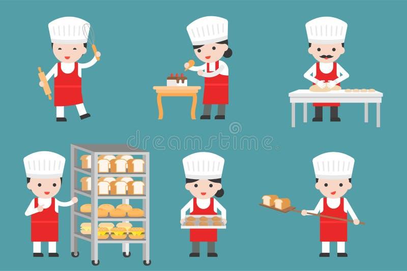 Caráteres bonitos do cozinheiro chefe de pastelaria ajustados com pão e que cozinham as ferramentas, fl ilustração do vetor
