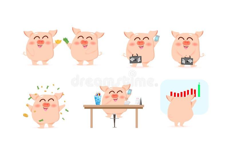 Caráteres bonitos do porco do negócio, conceito animal do funcionamento dos desenhos animados, riqueza e investimento, ilustração ilustração stock
