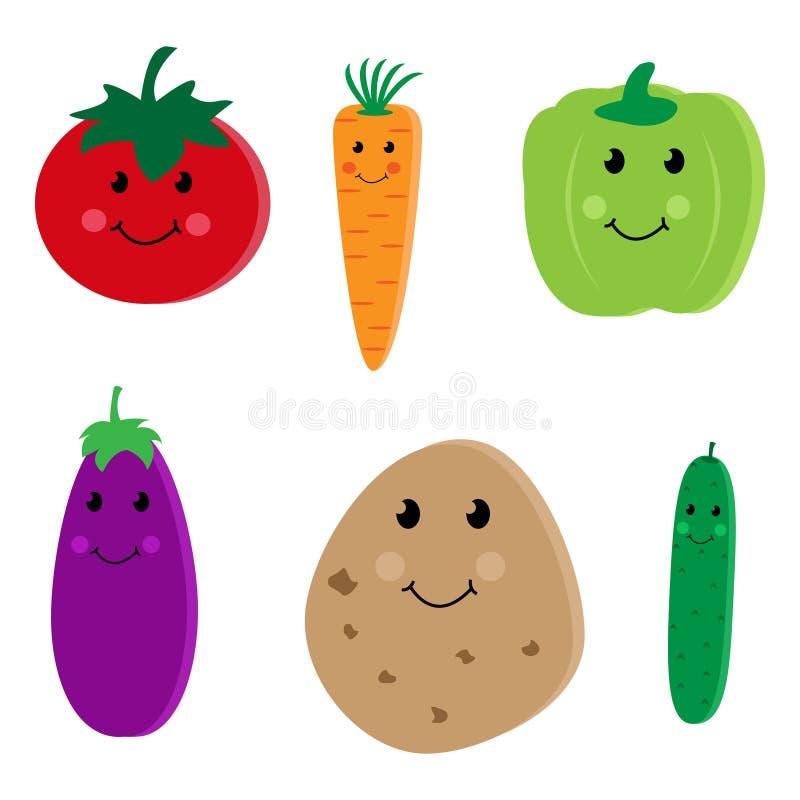 Caráteres bonitos vegetais dos desenhos animados ilustração royalty free