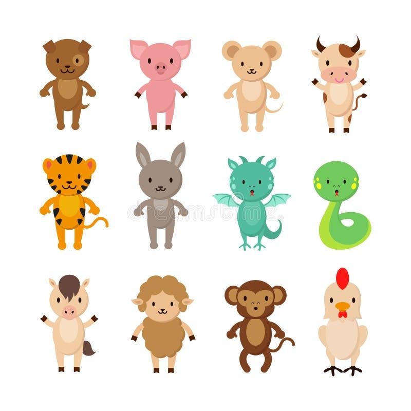 Caráteres chineses do vetor dos desenhos animados dos animais do zodíaco ajustados ilustração royalty free