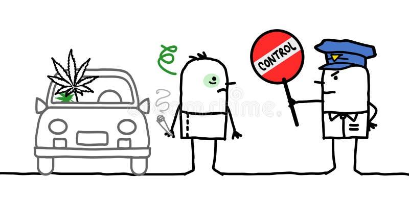 Caráteres - controle de polícia - cannabis ilustração do vetor