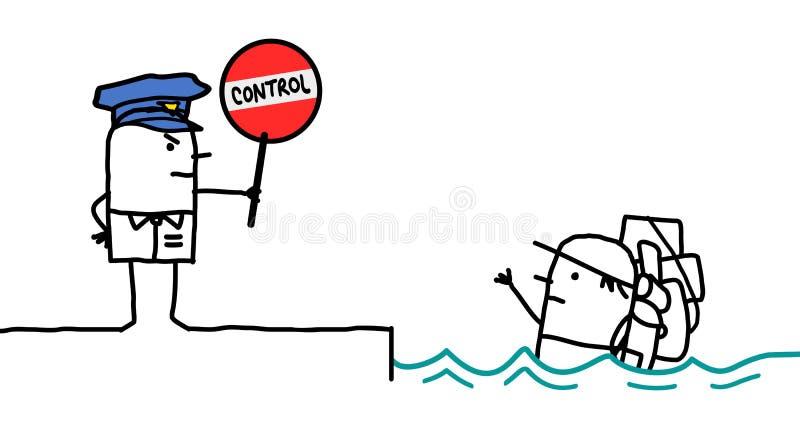 Caráteres - controle de polícia - clandestinos ilustração do vetor