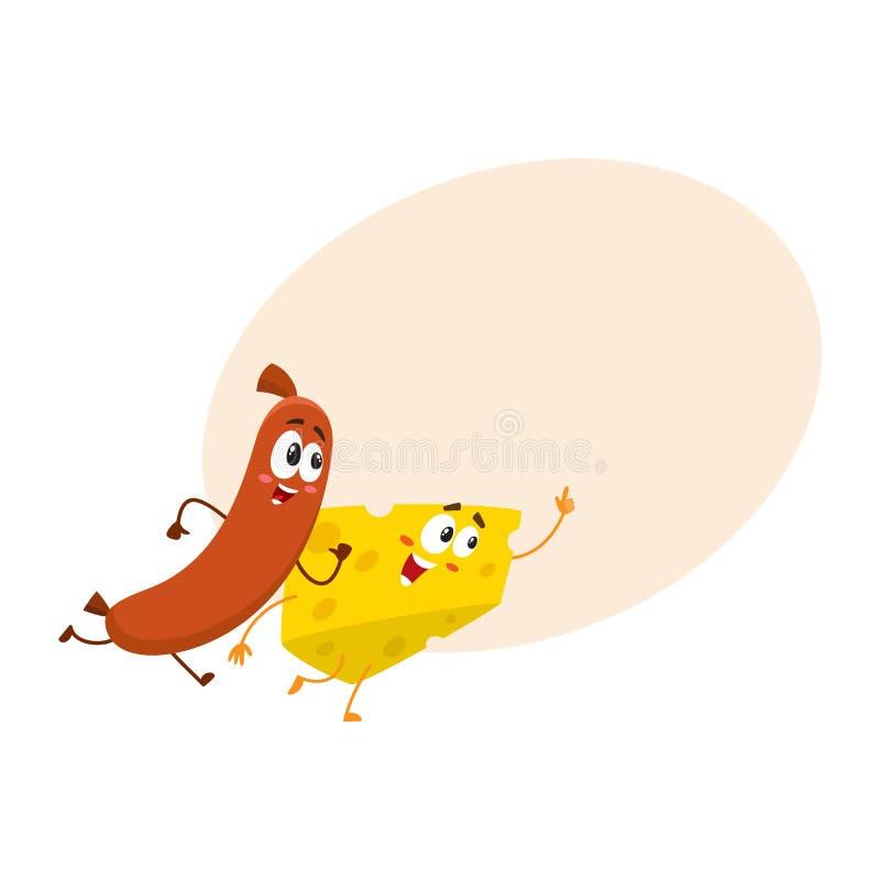 Caráteres corrida do pedaço da salsicha e do queijo de salsicha tipo frankfurter, apressando-se em algum lugar junto ilustração stock
