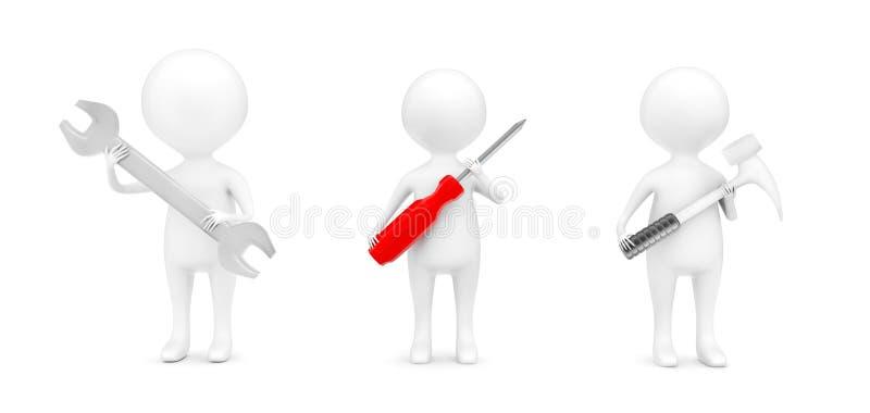 caráteres 3d diferentes que guardam a chave, a chave de fenda e o martelo ilustração do vetor