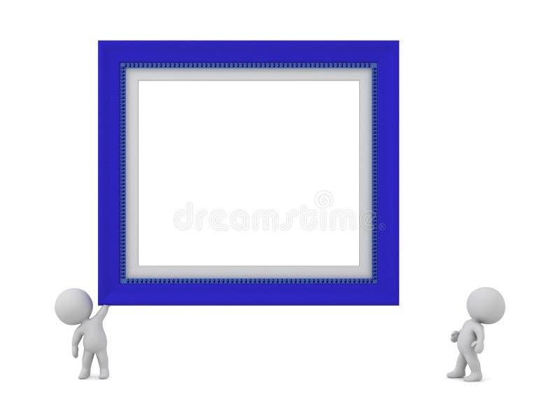 caráteres 3D e moldura para retrato ilustração do vetor