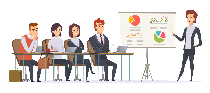 Caráteres da apresentação do negócio Grupo de gerentes que sentam-se na sala de aula que escuta aprendendo o seminário do negócio ilustração stock