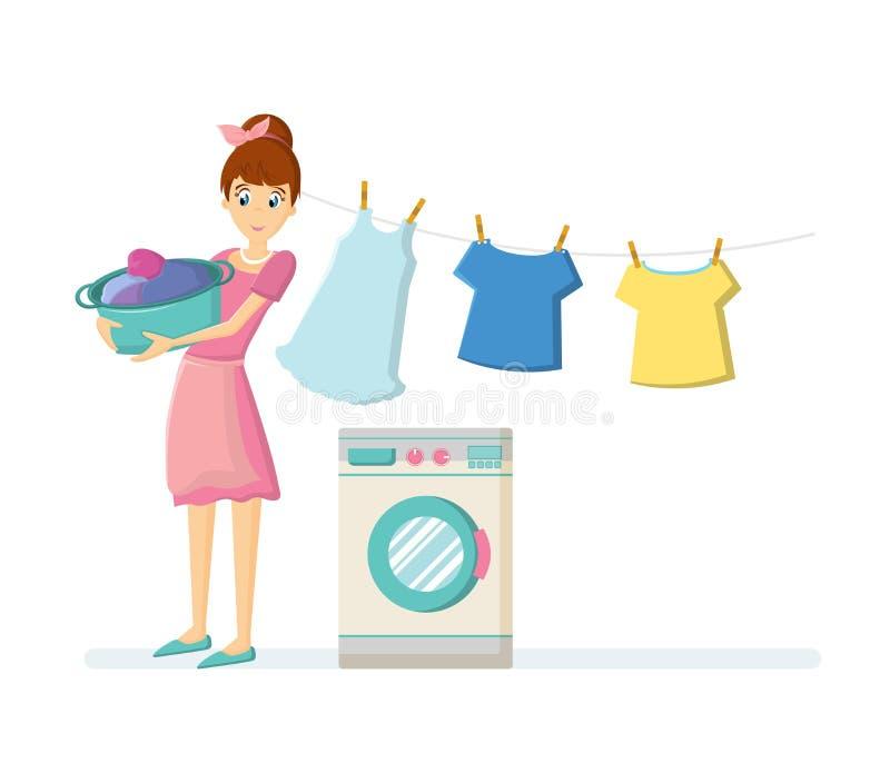 Caráteres da dona de casa da mulher Roupa de lavagem da dona de casa da mulher na máquina de lavar ilustração stock