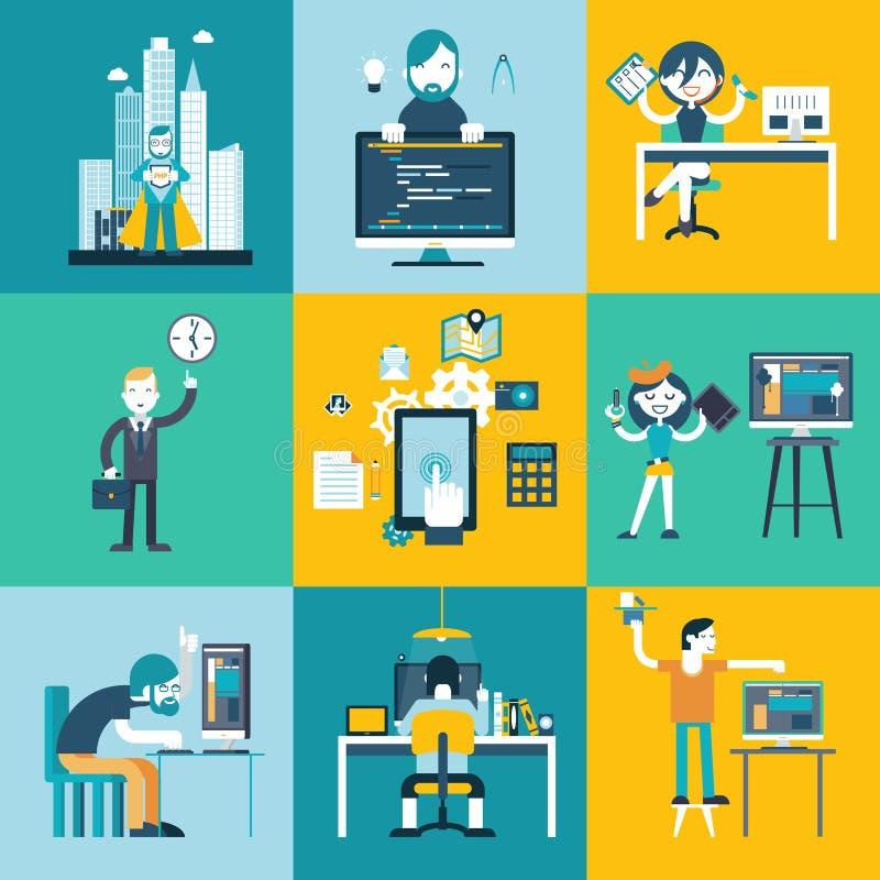 Caráteres da equipe de desenvolvimento da Web ilustração stock