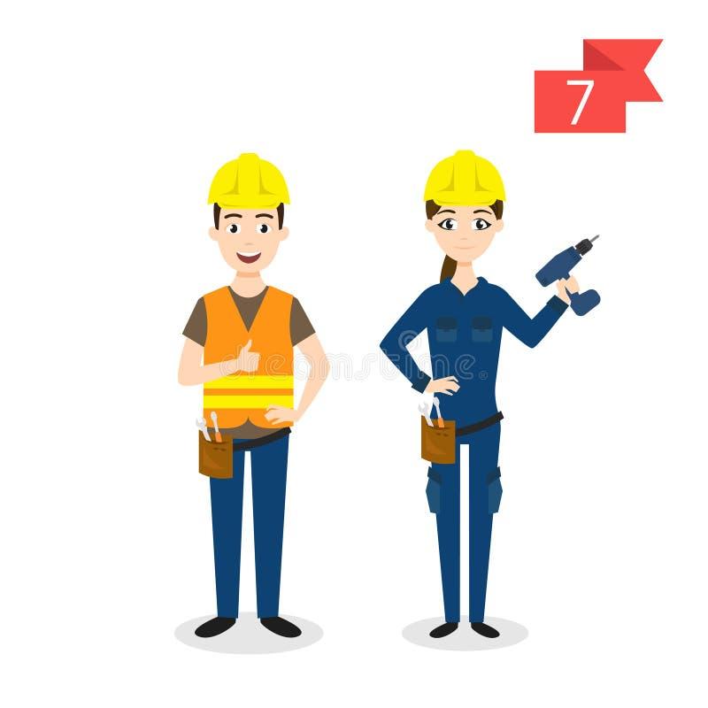 Caráteres da profissão: homem e mulher Trabalhador ilustração do vetor
