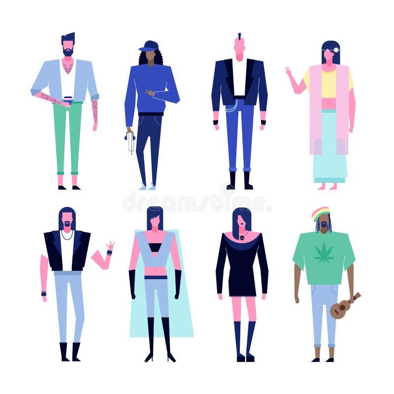 Caráteres da subcultura ajustados ilustração stock