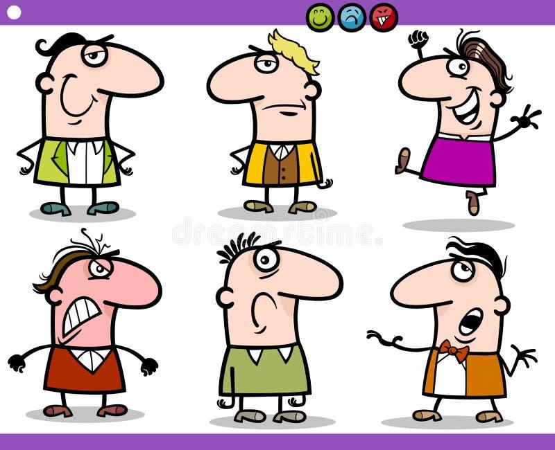 Caráteres das emoções dos povos dos desenhos animados ajustados ilustração stock