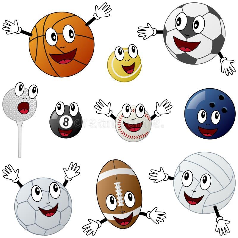Caráteres das esferas do esporte dos desenhos animados ilustração stock