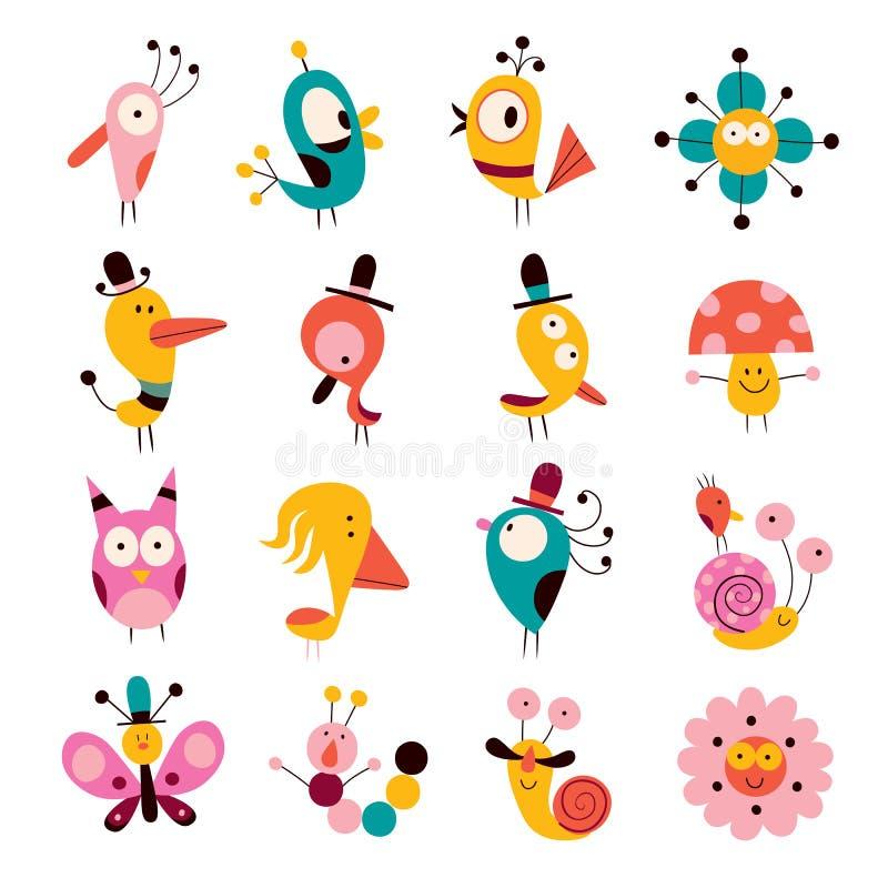 Caráteres das flores, dos pássaros, dos cogumelos & dos caracóis ajustados ilustração stock