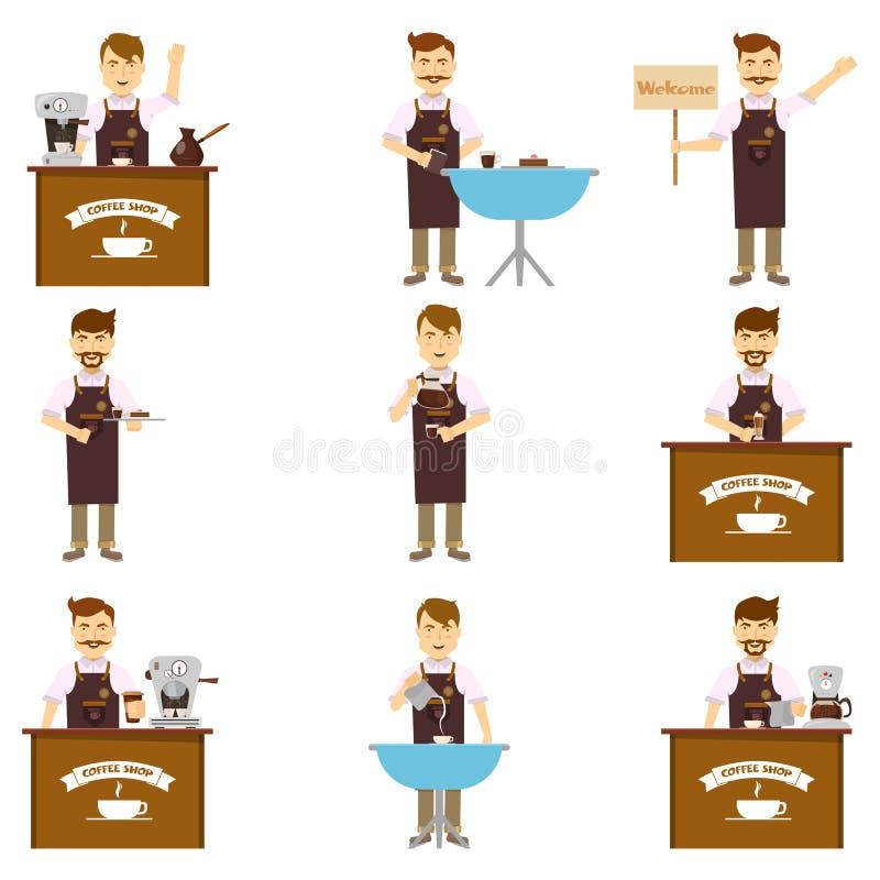 Caráteres de Barista Set ilustração stock