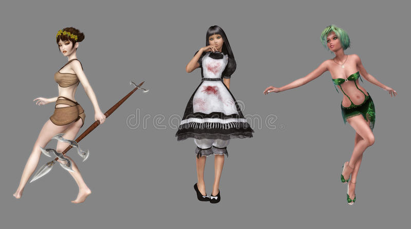 Caráteres de Digitas da fantasia ilustração do vetor