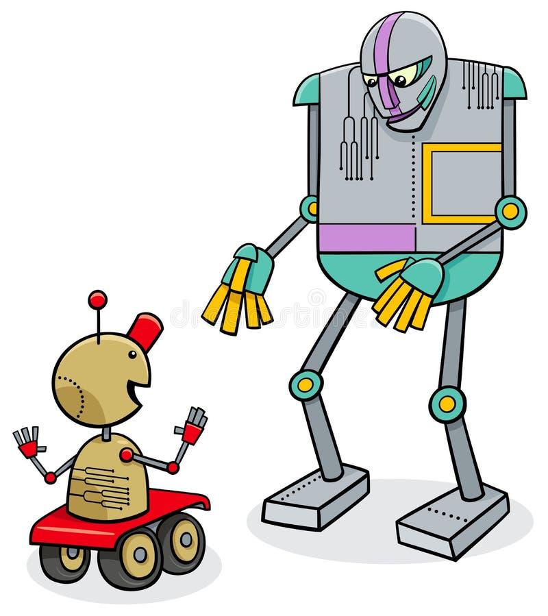 Caráteres de fala da fantasia dos desenhos animados dos robôs ilustração stock