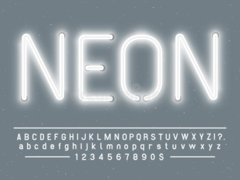 Caráteres de sinal de néon brancos de incandescência brilhantes A fonte de vetor com luz do fulgor rotula e numera lâmpadas ilustração stock
