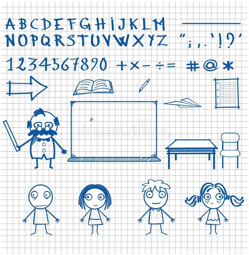 Caráteres desenhados à mão e objetos do tema da escola do estilo da garatuja ilustração stock