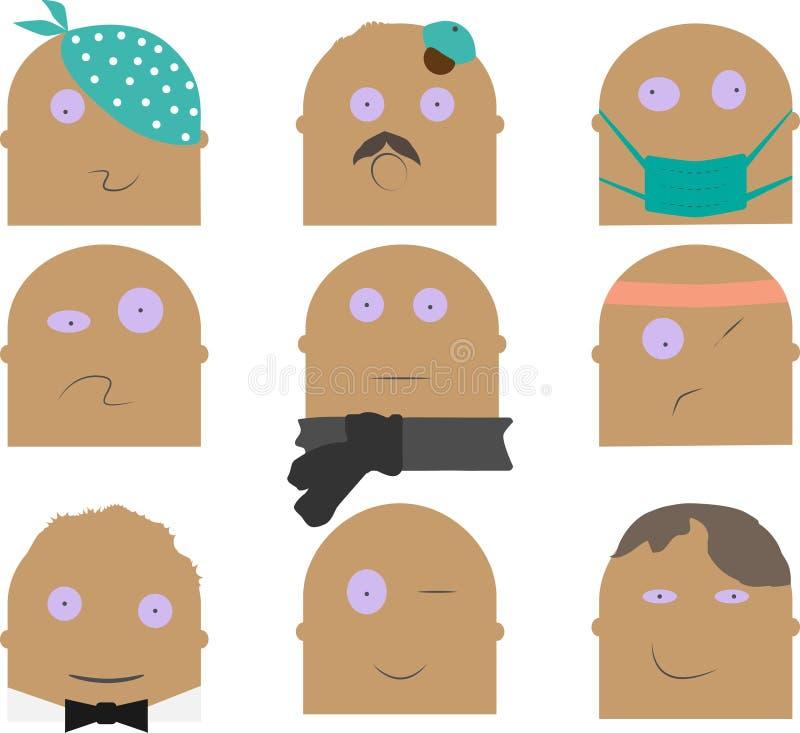 Caráteres diferentes ajustados imagem de stock