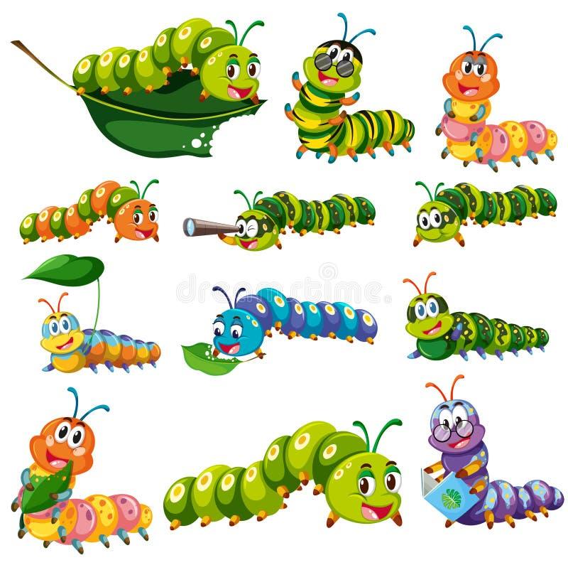 Caráteres diferentes da lagarta da cor ilustração stock