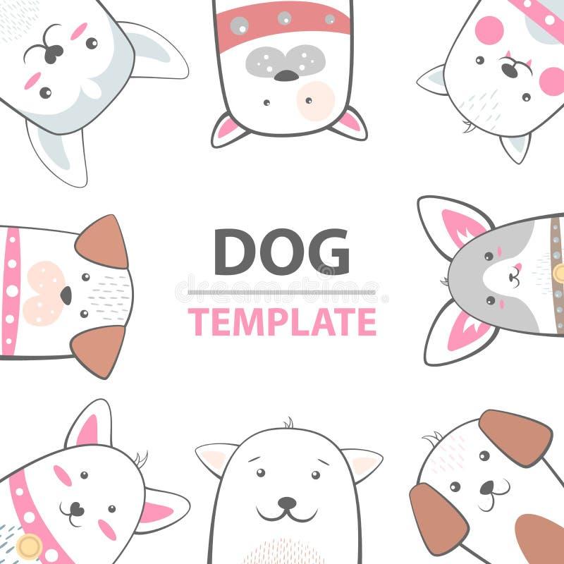 Caráteres do cão dos desenhos animados Molde dos animais ilustração stock