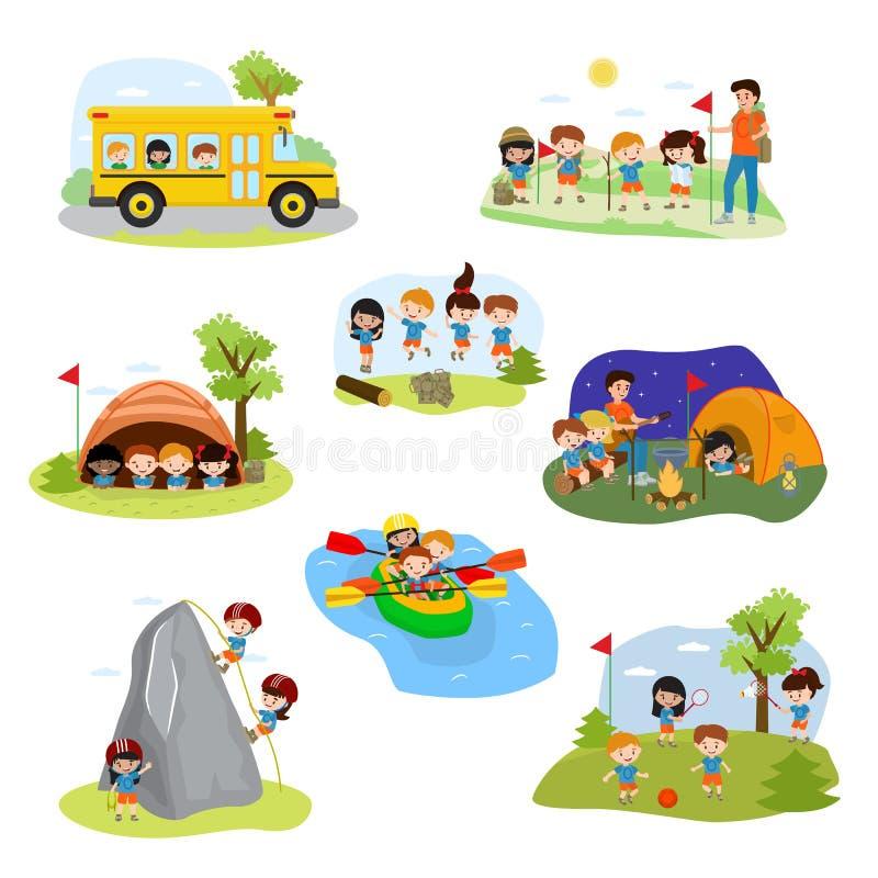 Caráteres do campista das crianças do vetor do acampamento das crianças e atividade de acampamento no grupo da ilustração das fér ilustração stock