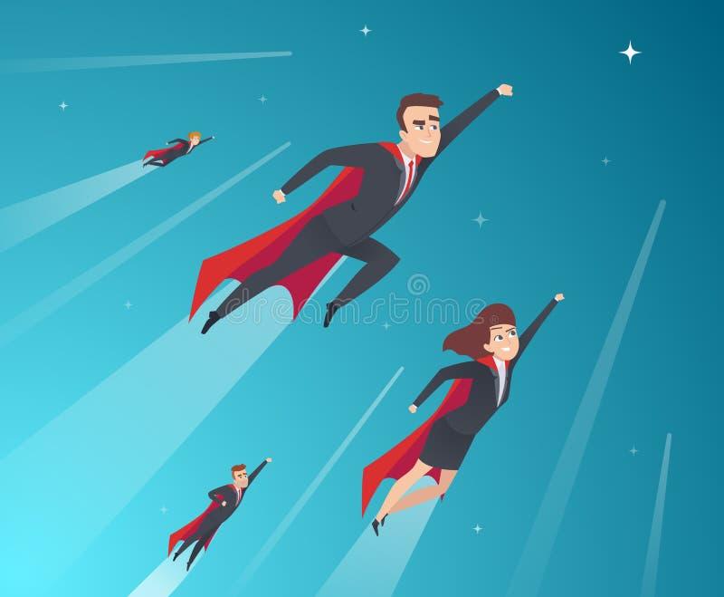 Caráteres do conceito do negócio Equipe profissional que trabalha super-herói poderosos no fundo incorporado do vetor das poses d ilustração do vetor