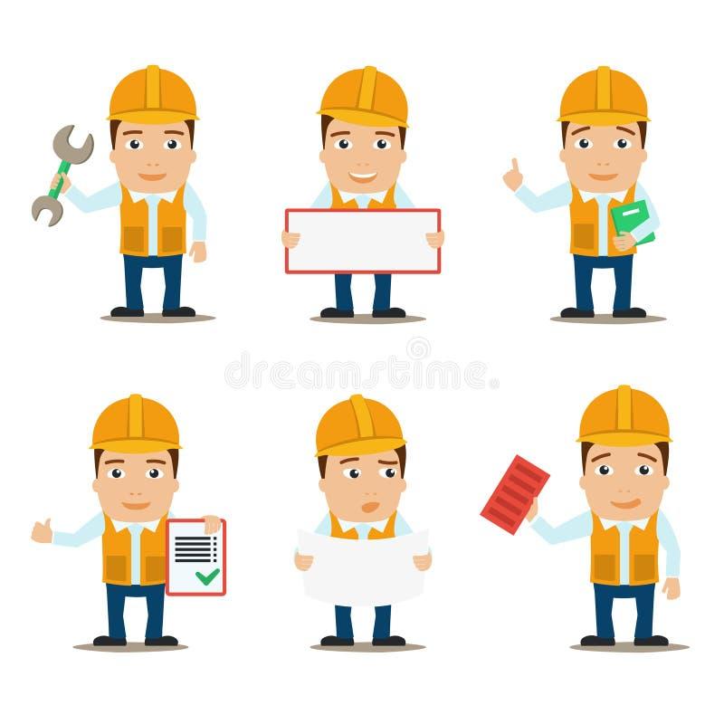 Caráteres do construtor ajustados ilustração do vetor