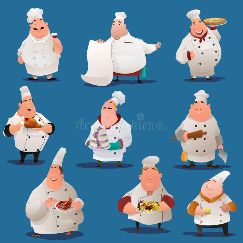 Caráteres do cozinheiro chefe ilustração royalty free