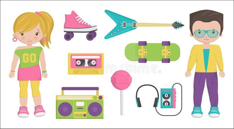Caráteres do estilo dos anos 80 do vintage e grupo do artigo ilustração stock