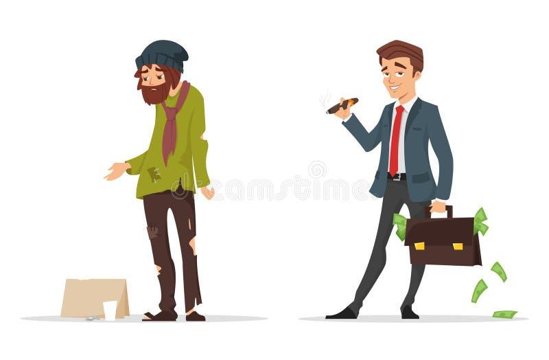 Caráteres do estilo dos desenhos animados Homem pobre e rico ilustração royalty free
