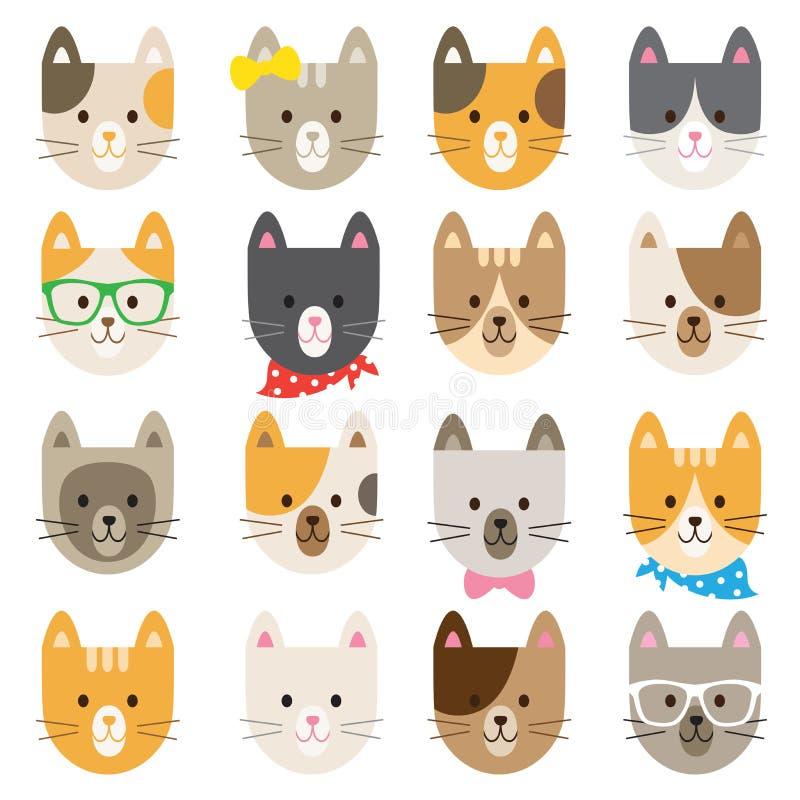 Caráteres do gato ajustados ilustração do vetor