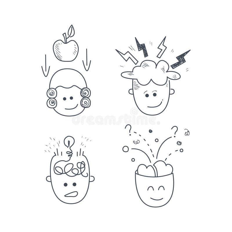 Caráteres do homem com o grupo da ideia ilustração stock